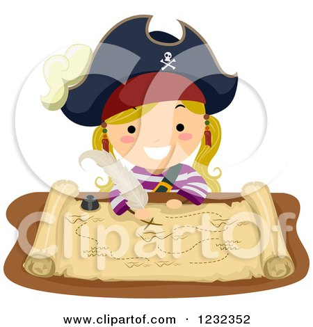 Clipart of a Blond Pirate Girl Drawing on a Treasure Map - Royalty Free Vector Illustration by BNP Design Studio