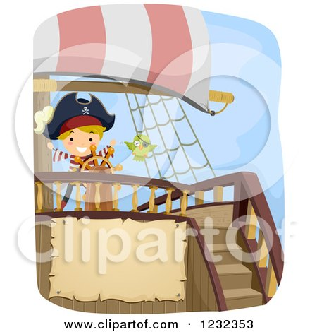 Clipart of a Pirate Boy and Parrot at a Ship's Helm with Text Space - Royalty Free Vector Illustration by BNP Design Studio