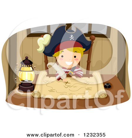 Clipart of a Blond Pirate Boy Drawing on a Treasure Map - Royalty Free Vector Illustration by BNP Design Studio