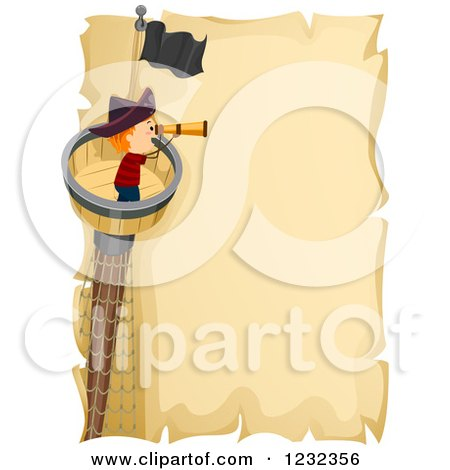 Clipart of a Pirate Boy Using a Telescope in a Crows Nest, over Parchment Text Space - Royalty Free Vector Illustration by BNP Design Studio