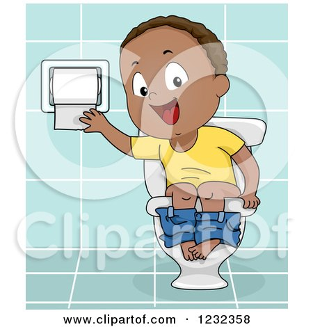 Clipart of a Black Potty Training Toddler Boy Using a Toilet - Royalty Free Vector Illustration by BNP Design Studio