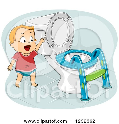 Clipart of a Potty Training Toddler Boy Flushing a Toilet - Royalty Free Vector Illustration by BNP Design Studio