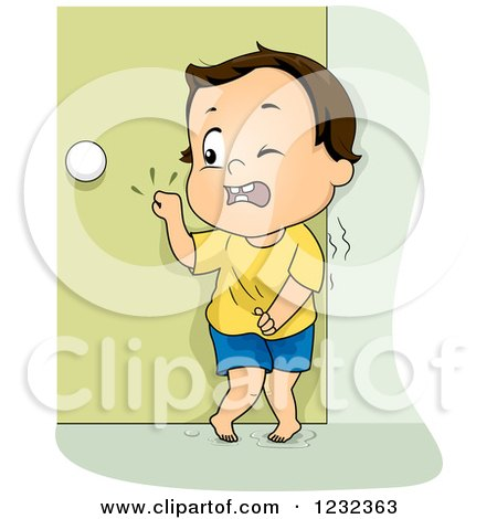 Clipart of a Potty Training Toddler Boy Frantically Knocking on a Door - Royalty Free Vector Illustration by BNP Design Studio