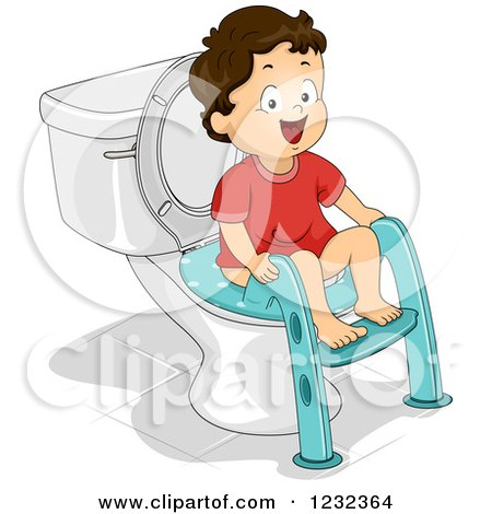 Clipart of a Caucasian Potty Training Toddler Boy Using a Seat - Royalty Free Vector Illustration by BNP Design Studio