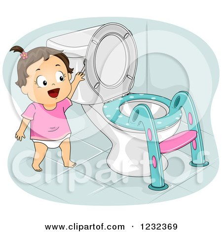 Clipart of a Potty Training Toddler Girl Flushing a Toilet - Royalty Free Vector Illustration by BNP Design Studio