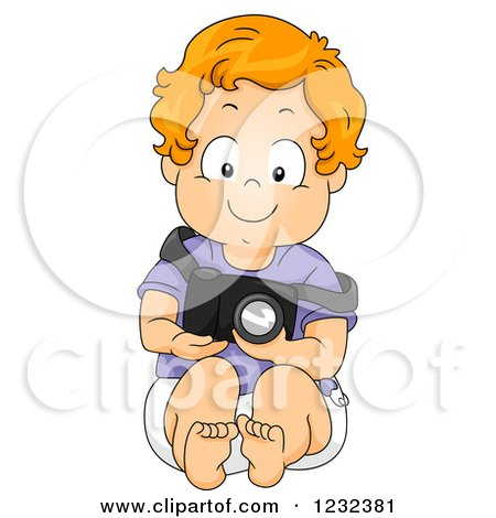 Clipart of a Caucasian Toddler Boy Pretending to Be a Photographer - Royalty Free Vector Illustration by BNP Design Studio