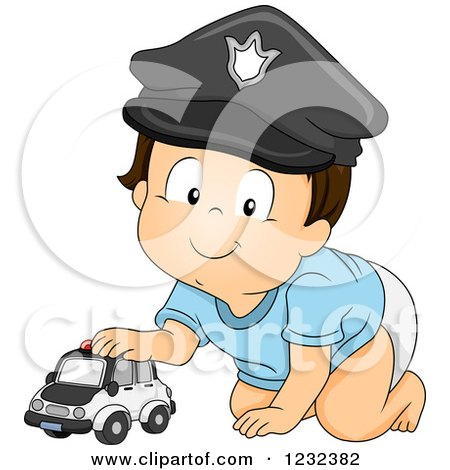 Clipart of a Caucasian Toddler Boy Pretending to Be a Police Man - Royalty Free Vector Illustration by BNP Design Studio