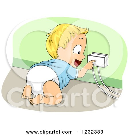 Clipart of a Caucasian Toddler Boy Touching a Covered Socket - Royalty Free Vector Illustration by BNP Design Studio