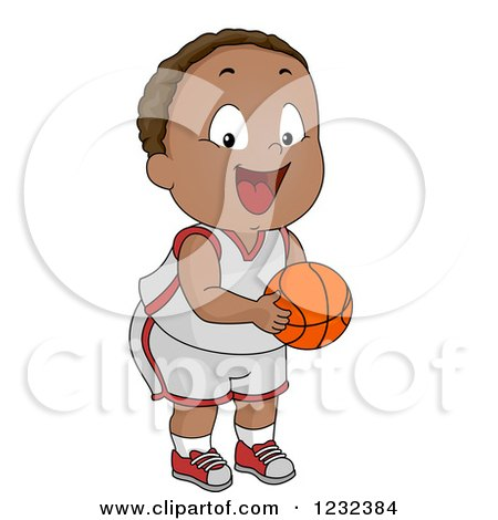 Clipart of a Black Toddler Boy Pretending to Be a Basketball Player - Royalty Free Vector Illustration by BNP Design Studio