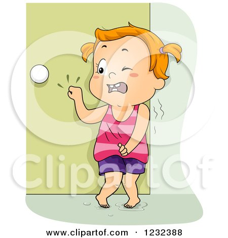 Clipart of a Potty Training Toddler Girl Frantically Knocking on a Door - Royalty Free Vector Illustration by BNP Design Studio