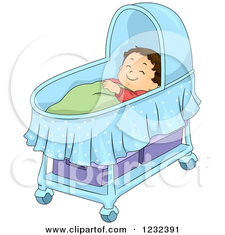Clipart of a Caucasian Toddler Boy Sleeping in a Bassinet - Royalty Free Vector Illustration by BNP Design Studio