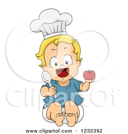 Clipart of a Caucasian Toddler Boy Pretending to Be a Chef - Royalty Free Vector Illustration by BNP Design Studio
