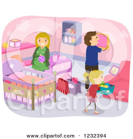 Clipart of a Girl Helping Her Parents Decorate a Baby Nursery - Royalty Free Vector Illustration by BNP Design Studio