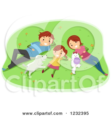 Clipart of a Happy Girl and Her Parents Resting on a Lawn with Their Pets - Royalty Free Vector Illustration by BNP Design Studio