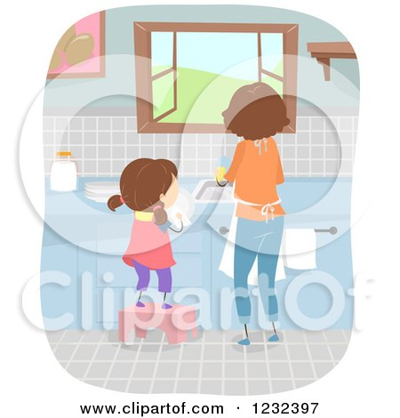 Clipart of a Mom and Daughter Washing and Drying Dishes - Royalty Free Vector Illustration by BNP Design Studio