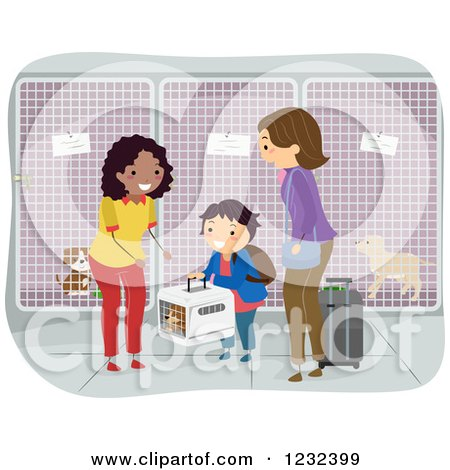 Clipart of a Woman Accepting a Boy and His Moms Dog at a Kennel - Royalty Free Vector Illustration by BNP Design Studio