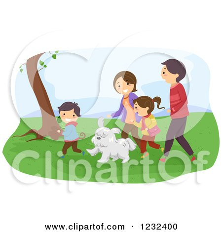 Clipart of a Happy Family and Dog Walking in a Park - Royalty Free Vector Illustration by BNP Design Studio