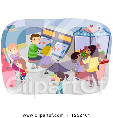 Clipart of a Busy Arcade with Parents and Children - Royalty Free Vector Illustration by BNP Design Studio