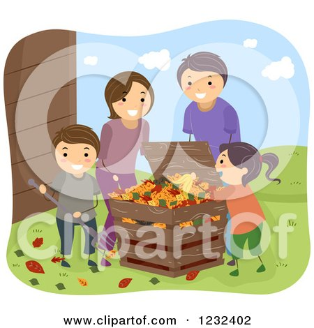 Clipart of a Happy Family Raking and Composting Leaves - Royalty Free Vector Illustration by BNP Design Studio