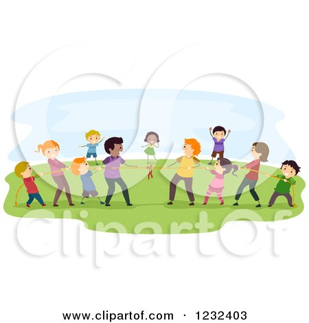Clipart of Diverse People Playing Tug of War - Royalty Free Vector Illustration by BNP Design Studio