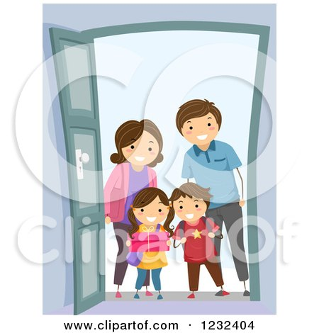 Clipart of a Happy Visiting Family at a Door - Royalty Free Vector Illustration by BNP Design Studio