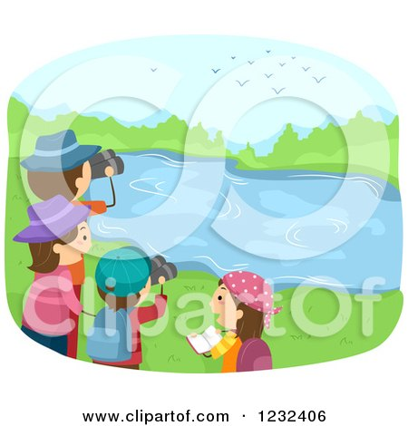 Clipart of a Happy Family Bird Watching at a Lake - Royalty Free Vector Illustration by BNP Design Studio