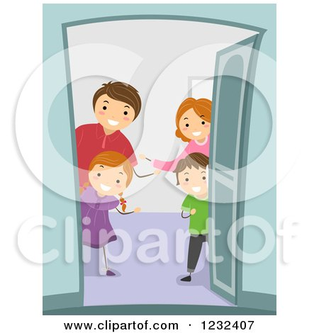 Clipart of a Welcoming Family Greeting at Their Door - Royalty Free Vector Illustration by BNP Design Studio