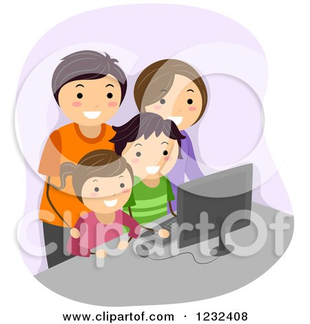 Clipart of a Happy Family Using a Computer Together - Royalty Free Vector Illustration by BNP Design Studio