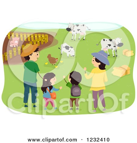 Clipart of a Happy Asian Family Visiting a Farm - Royalty Free Vector Illustration by BNP Design Studio