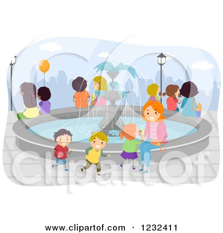 Happy Mother and Children Around a Water Fountain Posters, Art Prints