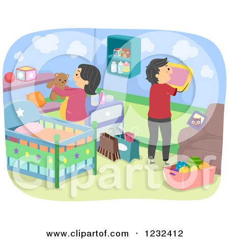 Clipart of Expecting Parents Decorating a Baby Nursery - Royalty Free Vector Illustration by BNP Design Studio