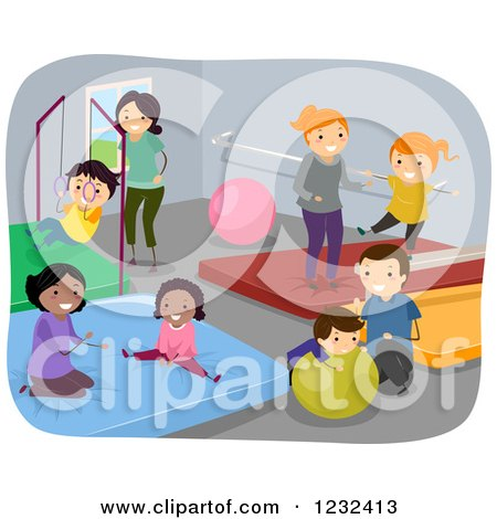 Clipart of Happy Diverse Children and Adults at a Gym - Royalty Free Vector Illustration by BNP Design Studio