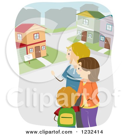 Clipart of a Caucasian Family House Hunting - Royalty Free Vector Illustration by BNP Design Studio