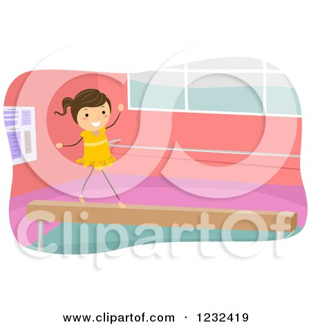 Clipart of a Gymnast Girl Walking on a Balance Beam - Royalty Free Vector Illustration by BNP Design Studio