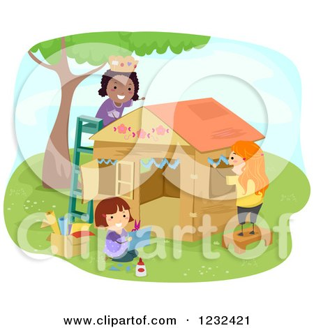 Clipart of Happy Diverse Girls Decorating a Play House - Royalty Free Vector Illustration by BNP Design Studio