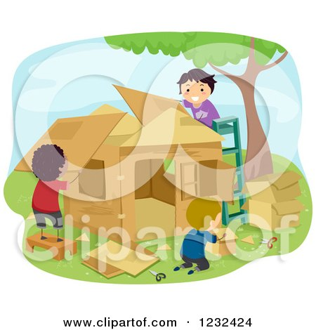 Clipart of Diverse Boys Building a Play House - Royalty Free Vector Illustration by BNP Design Studio