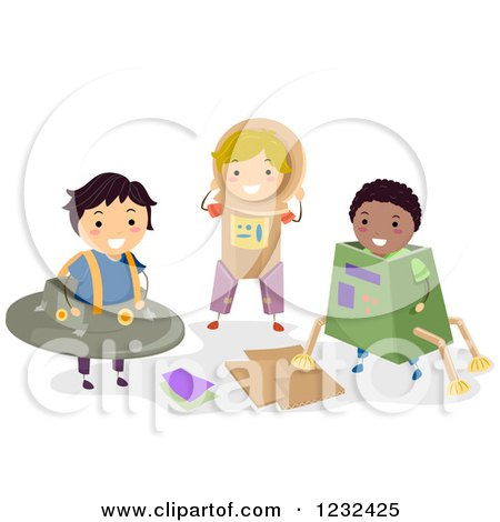 Clipart of Diverse Boys Playing in Science Fiction Cardboard Costumes - Royalty Free Vector Illustration by BNP Design Studio