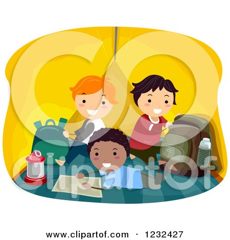 Clipart of Happy Diverse Boys Hanging out in a Camping Tent - Royalty Free Vector Illustration by BNP Design Studio