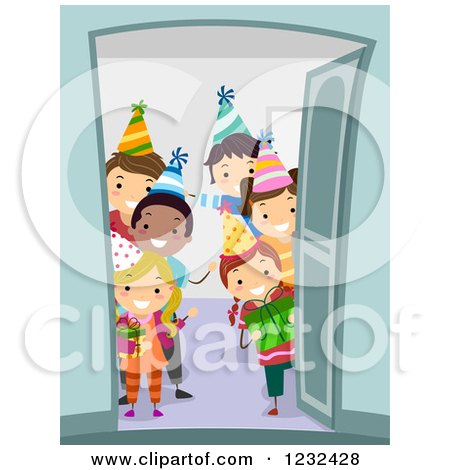 Clipart of Happy Diverse Birthday Party Chidren Welcoming at a Door - Royalty Free Vector Illustration by BNP Design Studio