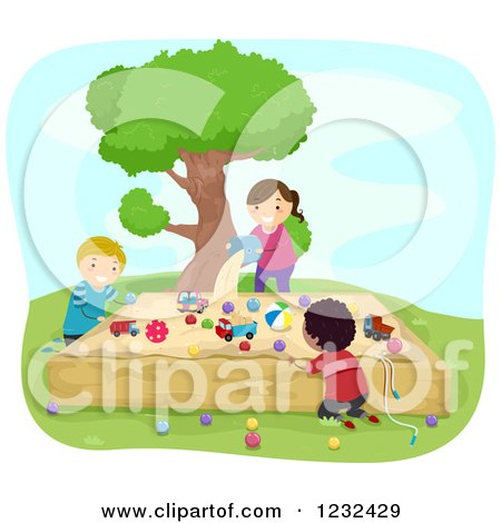 Clipart of Happy Diverse Children Playing at a Sand Box - Royalty Free Vector Illustration by BNP Design Studio