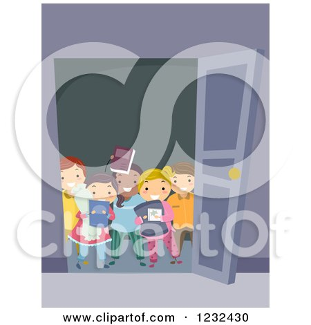 Clipart of a Group of Diverse Sleep over Kids at a Door - Royalty Free Vector Illustration by BNP Design Studio