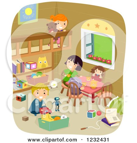 Clipart of Happy Children Playing in a Room - Royalty Free Vector Illustration by BNP Design Studio