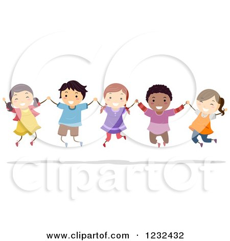 Clipart of Happy Diverse Children Holding Hands and Jumping - Royalty Free Vector Illustration by BNP Design Studio