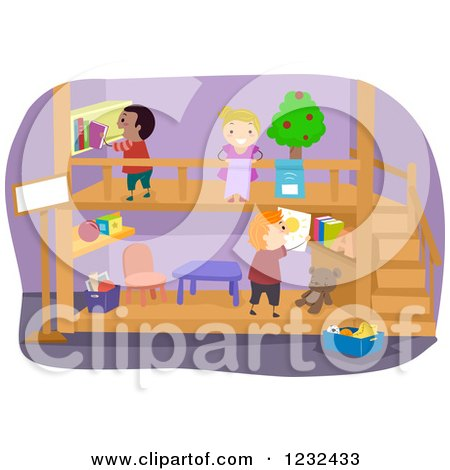 Clipart of Diverse Children Playing in a Theater - Royalty Free Vector Illustration by BNP Design Studio