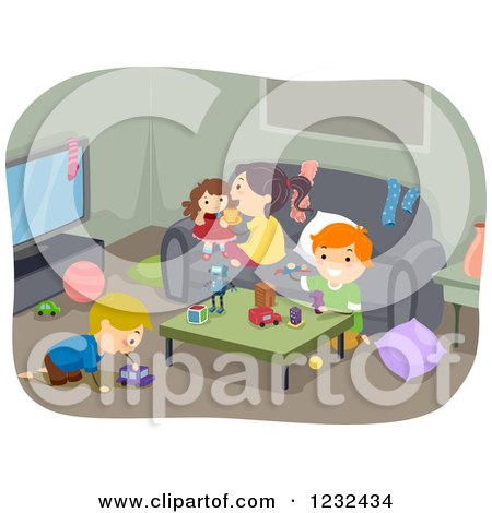 Clipart of Children Playing in a Living Room - Royalty Free Vector Illustration by BNP Design Studio