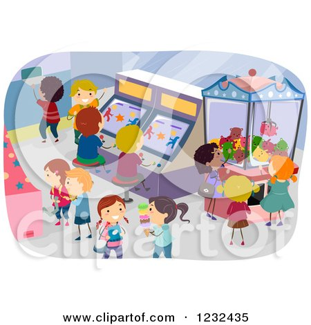 Clipart of Diverse Children Playing in an Arcade - Royalty Free Vector Illustration by BNP Design Studio