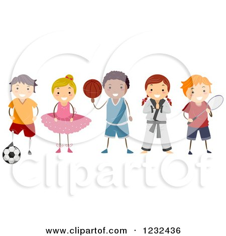 Clipart of Diverse Children in Different Activity Uniforms - Royalty Free Vector Illustration by BNP Design Studio