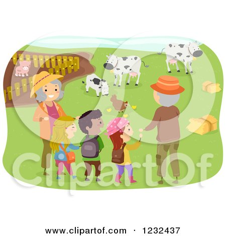 Clipart of Happy Grandparents and Kids at a Farm - Royalty Free Vector Illustration by BNP Design Studio