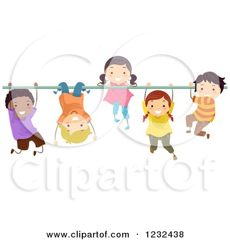 Clipart of Happy Diverse Children Hanging on a Monkey Bar - Royalty Free Vector Illustration by BNP Design Studio