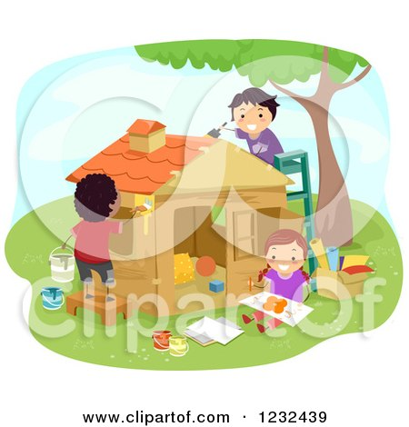 Clipart of Happy Diverse Children Painting a Toy House - Royalty Free Vector Illustration by BNP Design Studio